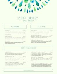 Spa Menu Of Services Template Mint Green Watercolor Minimal Spa Services Menu Templates By Canva