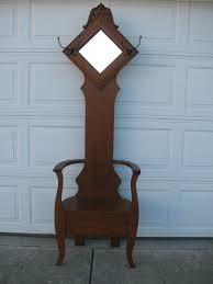 Hall Seat Coat Rack Antique Oak Hall Tree Seat Stand With Diamond Mirror Circa 100 28