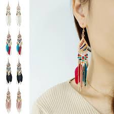 Tassel Earrings Korean <b>Retro Temperament</b> Drop Feather Long ...