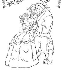 Small Picture Belle and the Beast Dancing in the Garden Coloring Page Download