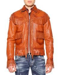 fringe trim leather jacket brown