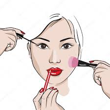makeup artist draws the eye line and the pencil stroke of lips and apply blush brush sketch style vector ilration