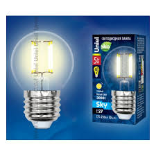Светодиодная <b>лампа Uniel LED</b>-<b>G45</b>-6W/WW/E27/CL PLS02WH ...