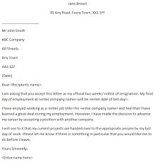 Resignation Letter Example Formal 2 Weeks Notice