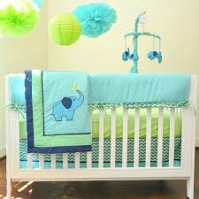 blue green elephant 10 pcs crib bedding set baby boy nursery quilt mobile diaper