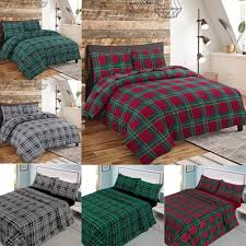 details about new flannelette duvet quilt cover set check thermal brushed cotton flannel sheet