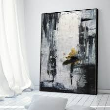 gold canvas art black white painting