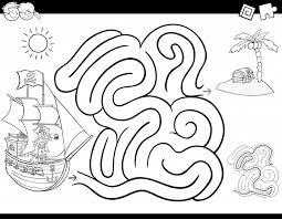 Labirinto Gioco Da Colorare Libro Con Pirata Scaricare Vettori Premium