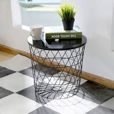 iron black wooden top wire mesh basket