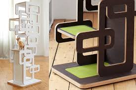 oliver kieges retro themed cat tree looks more like a modern sculpture that will no doubt impress your friends cat furniture modern
