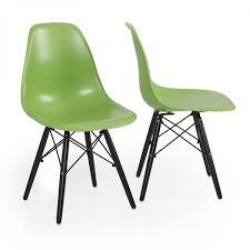 Plastic Table Chair Set 2x Eames Chair Green Natural Wood Legs Eiffel Dsw For Dining Room
