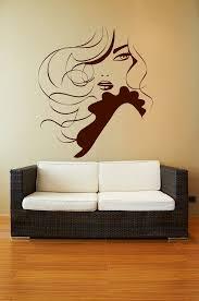 elegant lady wavy hair ruffles removable wall art decor decal vinyl sticker mural salon