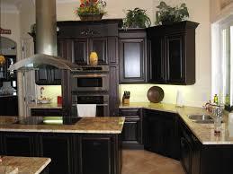 Kitchen With Dark Cabinets Brown Walnut Portable Island With Granite Top White Kitchen