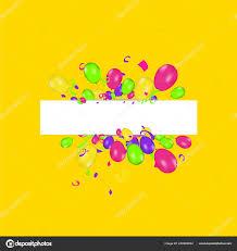 Blank Birthday Banner Blank Banner Color Balloons Confetti Vector Festive