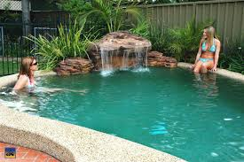 Swimming Pool:Simple Waterfall For Swimming Pool Designs Idea With Natural  Rock Decor Natural Small