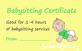 babysitting certificates for mommies everywhere simple but awesome handmade gifts