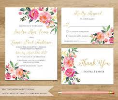 Wedding Invitations Watercolor Watercolor Floral Wedding Invitation Printable Wedding Invitation