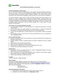 Investment Banker Resume Banking Sample Cover Letter Template