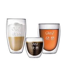 personalized engraved double wall beer glass drinking glass set of 3