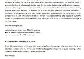 30 Sec Elevator Speech 30 Second Pitch Template 12 Elevator Pitch Templates To Download