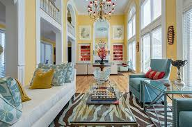 ... Spacious living room in yellow and blue with a hint of orange [Design:  S&K