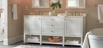 White bathroom vanity ideas Master Bathroom Farmhouse Style White Bathroom Vanity With Builtin Storage Shelves Underneath The Home Depot Bathroom Vanity Ideas The Home Depot