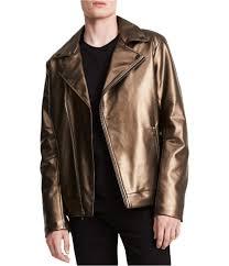 calvin klein mens faux leather asymmetrical motorcycle vest
