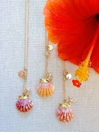 ANIKA NECKLACE: gold dipped sunrise shell necklace, hawaiian ...