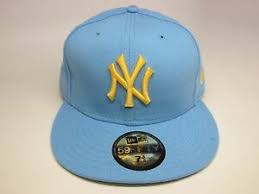 New Era Size Chart Us Details About Mens New Era Mlb Ny Yankees 5950 Custom Fitted Cap Baby Blue Yellow H