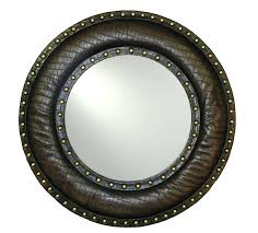 round leather mirror brown faux leather studded mirror leather mirror nz