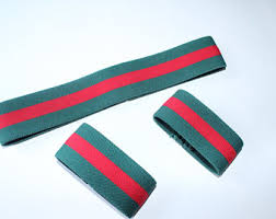 gucci inspired. men\u0027s fashion gucci inspired designer plain headband and wristbands thin green \u0026 red strap h
