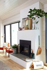 Image Fire Minimalist Modern Fireplace Styled With Art And Branches Pinterest Mantel Decorating Tips And Ideas Modern Fireplace Scandinavian
