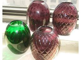 4 vintage colored glass bud vases designed for window sill for 30 upper