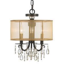 crystorama hampton 3 light bronze etruscan crystal drum shade chandelier
