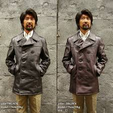 shot schott 140 men s leather double pea coat mink oil present cold protection pea coat p coat made in the united states