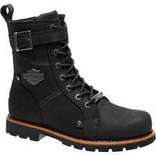 harley davidson wickson men black leather biker boots rock buckles lace up