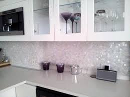 marvelous clear glass mosaic tile backsplash shiny mirror white kitchen wooden framed upper cabinets storage l