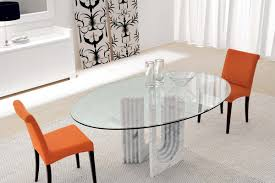 dining room gorgeous oval glass dining room table placed between