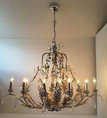 large luxury silver leaf chandelier leclercq bouwman 20th century