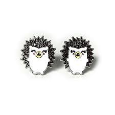 Hedgehog Stud Earrings Enamel Pierced Women ... - Amazon.com