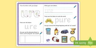 Students match letters representing the beginning sound of words to pictures. Ure Sound Activity Mat Teacher Made