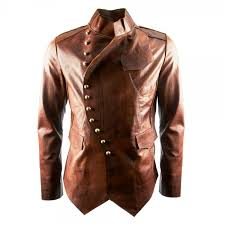 signature luxury mens military fitted tan leather jacket