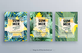Free Music Poster Templates Summer Music Poster Templates Green Leaves Decor Free Vector
