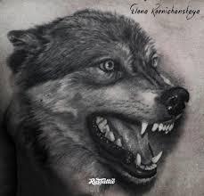 фото татуировки волк в стиле реализм татуировки на груди