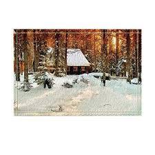 oil paintings decor winter log cabin in grove snow bath rugs non slip doormat floor entryways indoor front door mat kids bath mat 15 7x23 6in bathroom