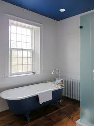 view in gallery master bathroom in blue and white with painted ceiling and bathtub