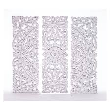white wood carved wall art