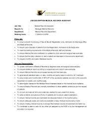 Job Description For File Clerk Medical File Template Medical Records ...