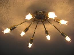 atomic lighting. sputnik 8 arm flush mount ceiling light mid century atomic starburst 50s 60s lighting