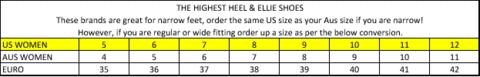 Ellie Shoes Size Chart Size Charts Shoe Me